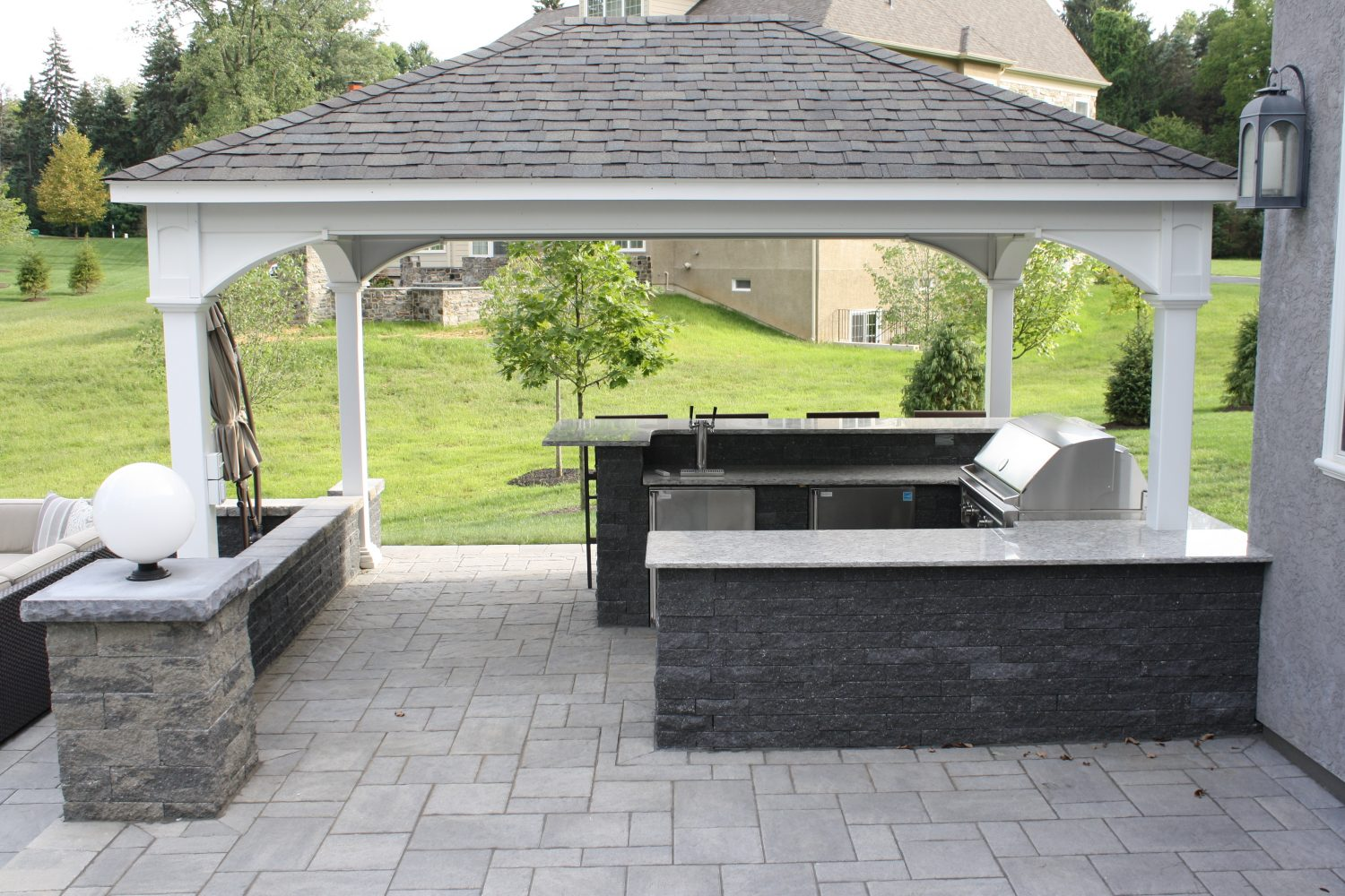Outdoor structures pavilions burkholder landscape for Outdoor kitchen pavilion designs