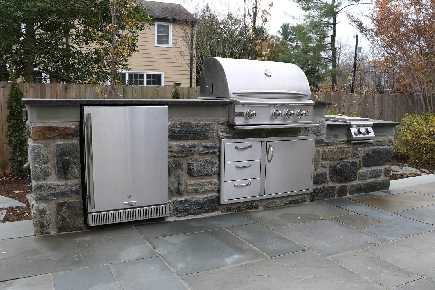 Natural Stone Grilling Station With Side Burner And Fridge Outdoor Kitchen