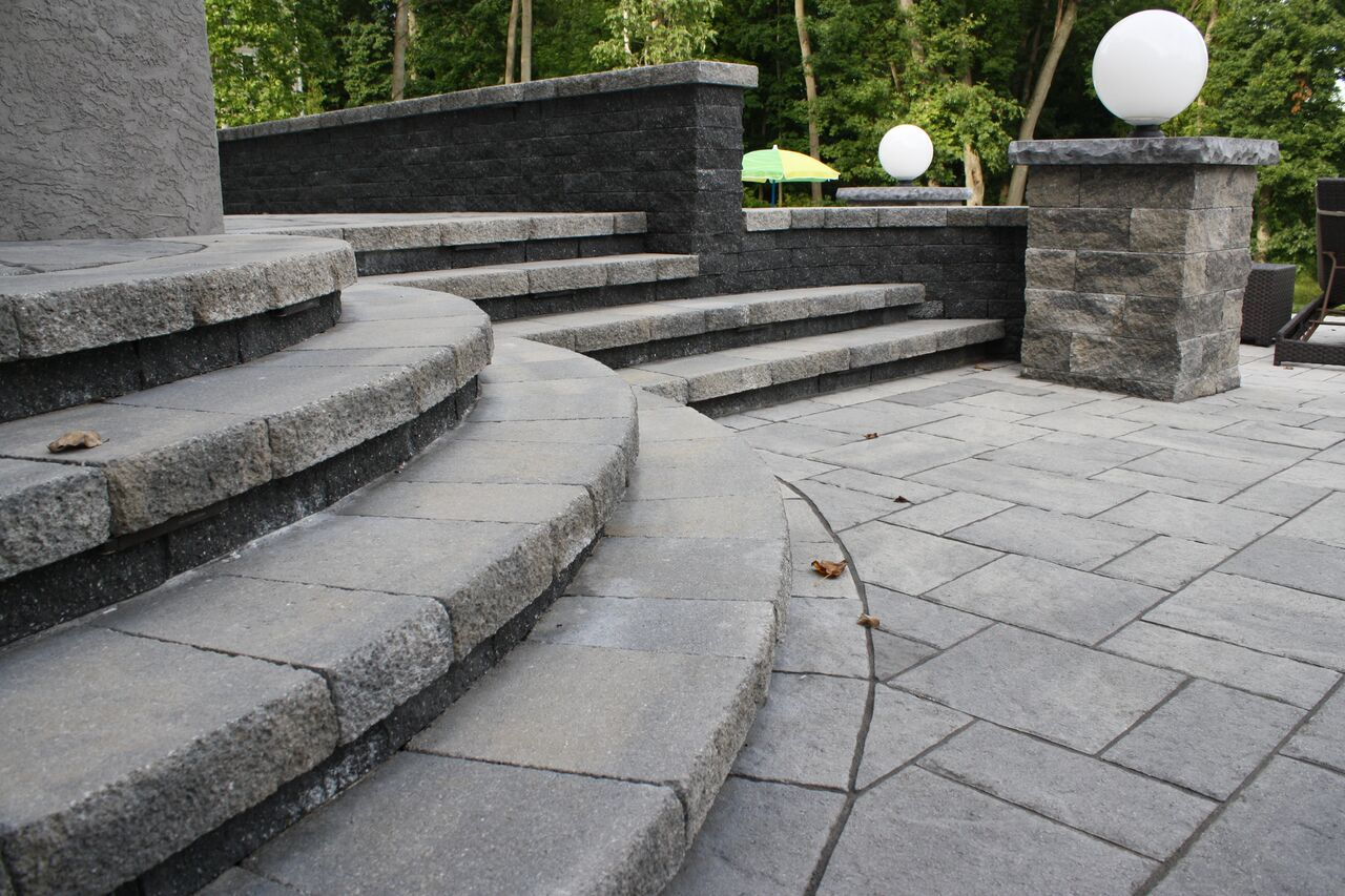 Steps: Techo Bloc Wall Stone And Caps