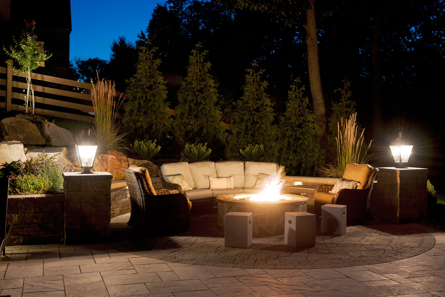 lighting on wall. Lighting (Firepit) Up-lighting On Trees, Cap Lights Wall And Pillar E