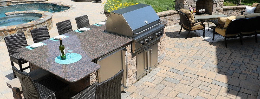 Custom Built Outdoor Kitchens Grills Burkholder Landscape - Dining table with built in grill