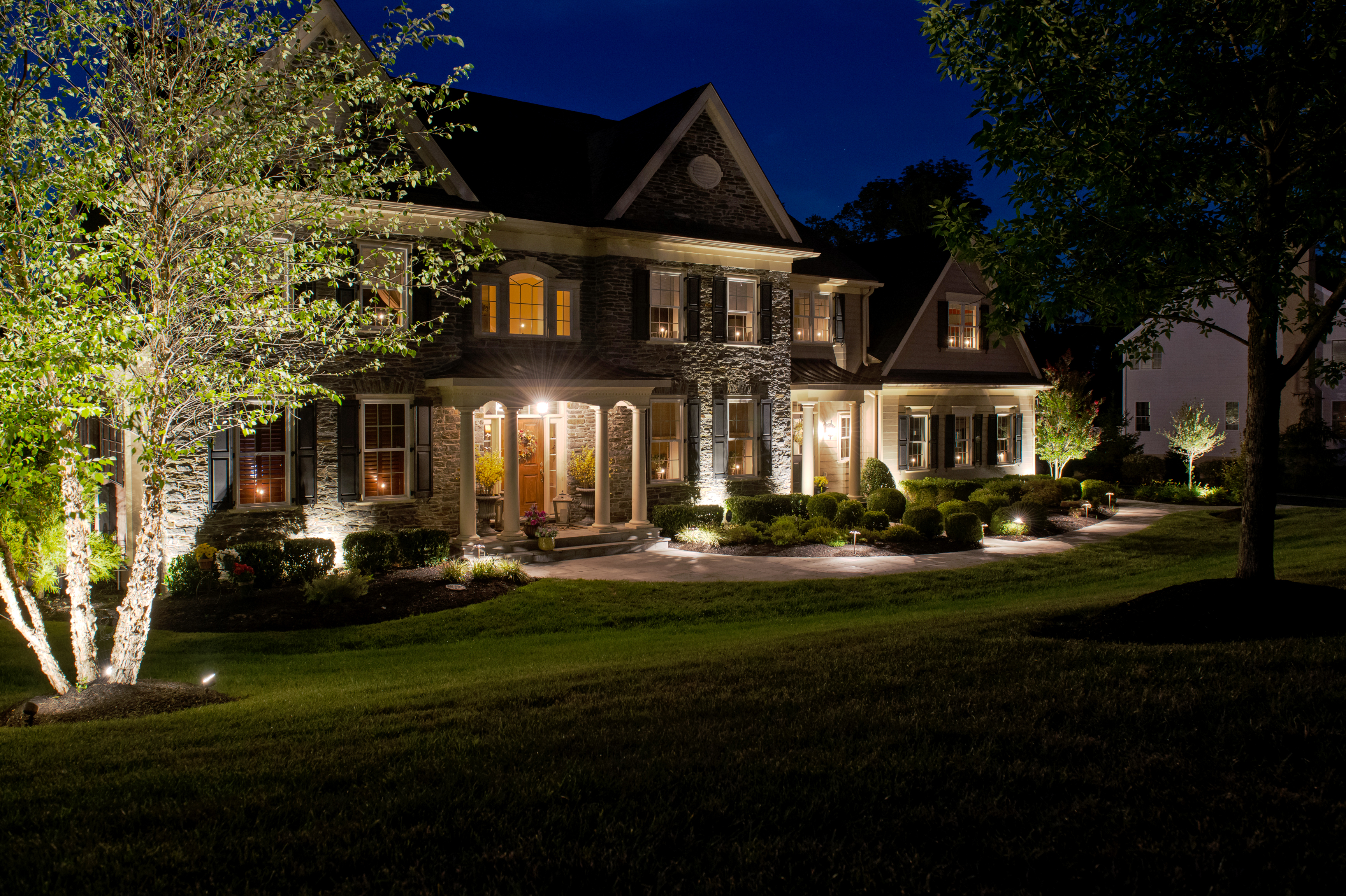Outdoor Residential Lighting on Front Foundation - Burkholder
