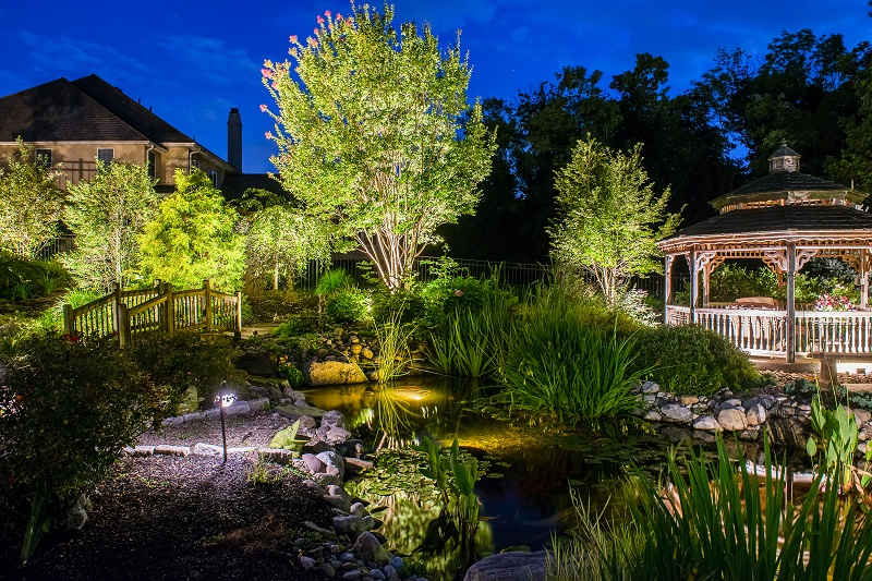 Outdoor Residential Lighting around pond - Burkholder