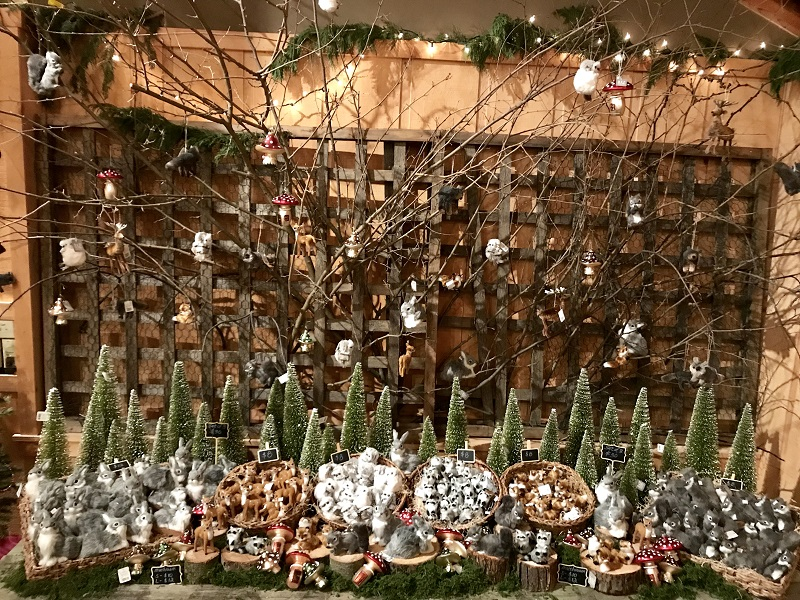 Animal figurines and ornaments at the Burkholder Holiday Pop Up Market