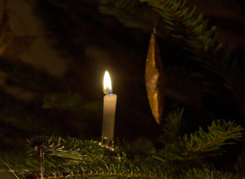 christmas-tree-lit with candle