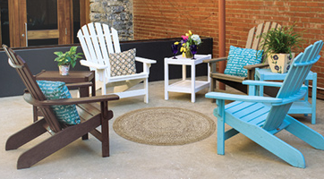 Colorful Breezesta chairs on a patio