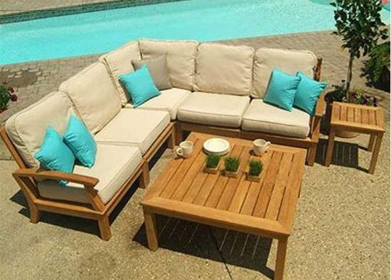 comfortable and stylish patio sofa set by pool