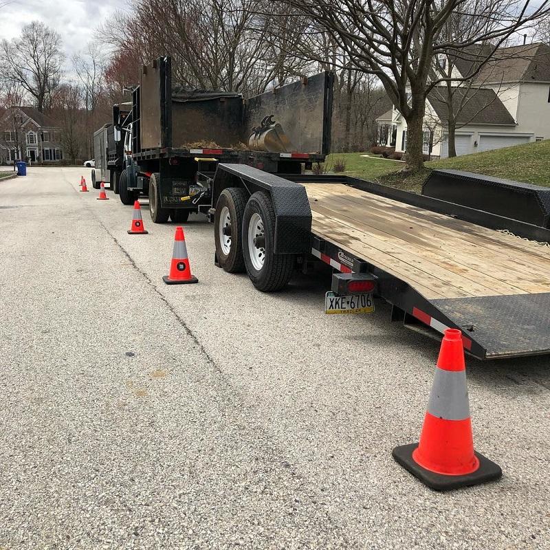 image of truck with safety cones- burkholder landscape
