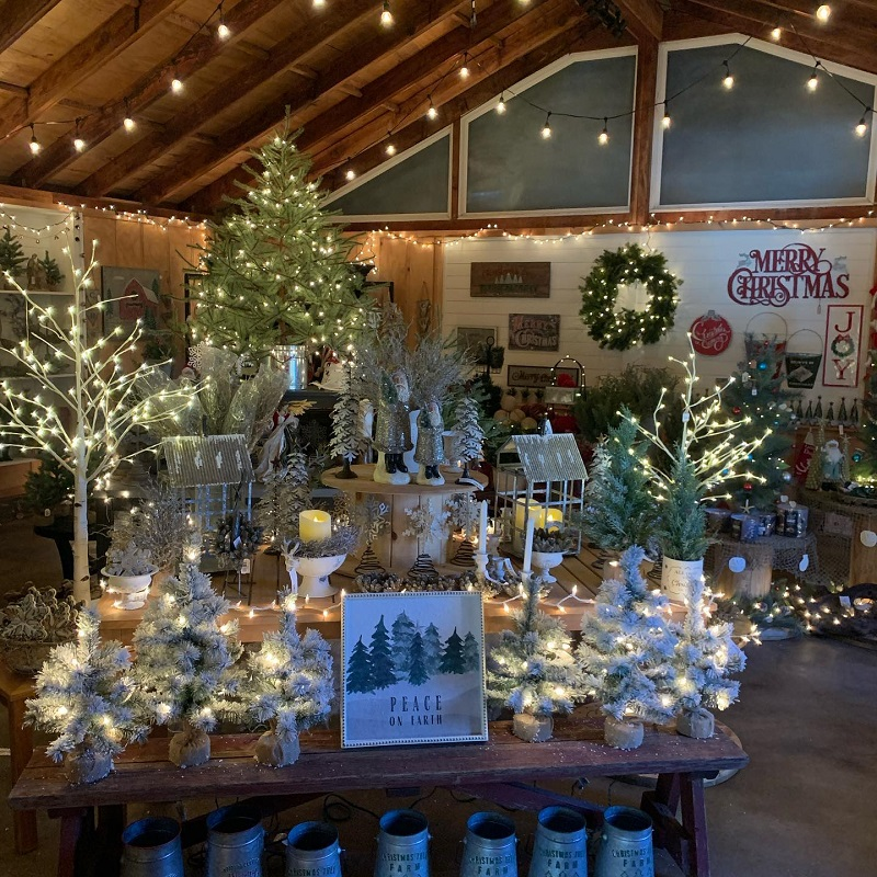 Unique holiday gifts like candles and lighted faux trees at the Burkholder Holiday Market