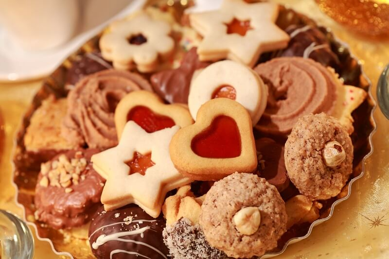 Christmas cookies arranged on a plate | ways to get into the holiday spirit | Burkholder Brothers